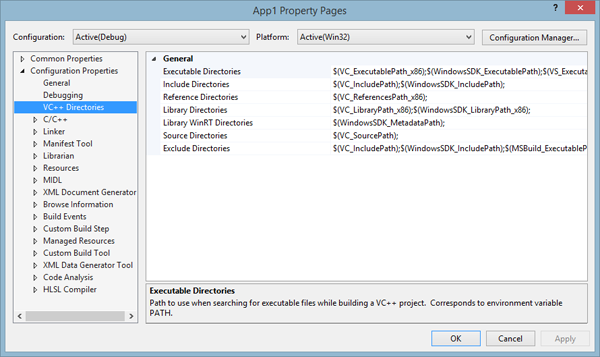 VC++ Directories (Visual Studio 2013)